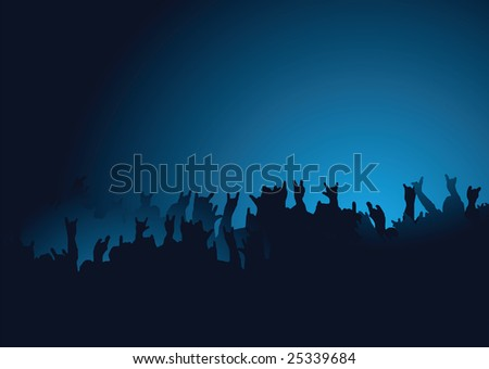 Hands raised at a rock concert with the crown back lit in blue