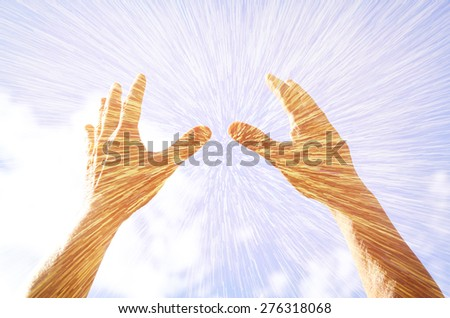 hands raised in prayer against sky. double exposure effect  - stock photo