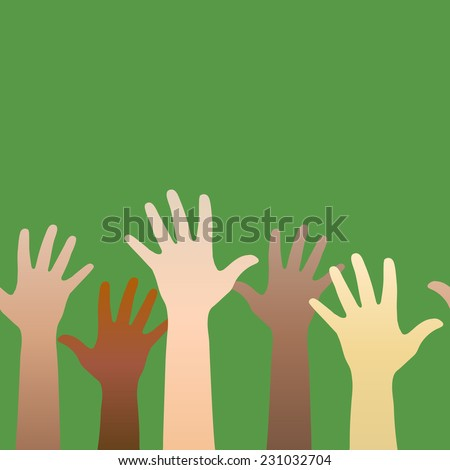 Hands raised up. Concept of volunteerism, multi-ethnicity, equality, racial and social issues. Horizontally seamless.  - stock photo