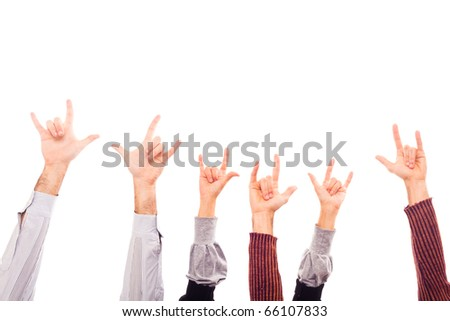 Hands Raised Up with Rock And Roll Sign