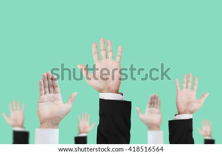 Hands raising upward on pastel vintage tone background , abstract concept and ideas - stock photo