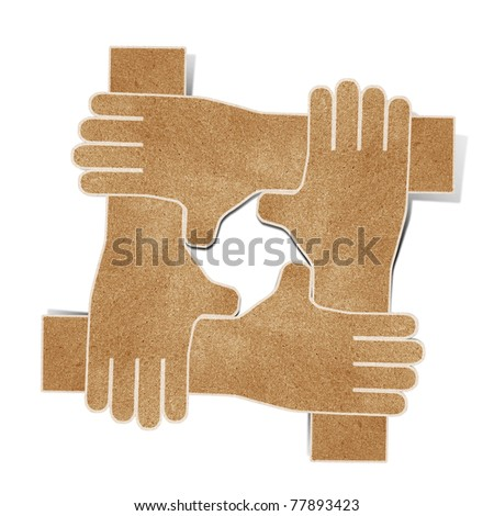 hands  recycled paper craft stick on white background - stock photo