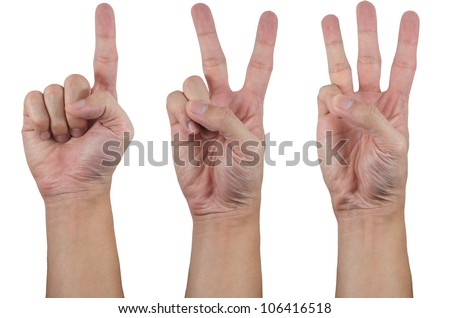 hands show 1 2 3 - stock photo