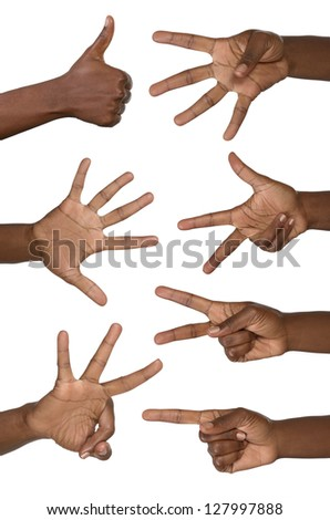 Hands show numbers, studio shot, isolated - stock photo