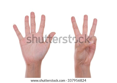 hands show the number eight isolated on white background