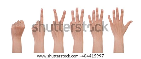 hands show the number isolated on white background