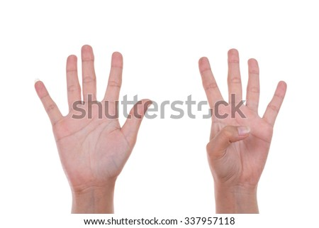 hands show the number nine isolated on white background