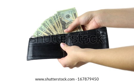 Hands showing a wallet full of cash