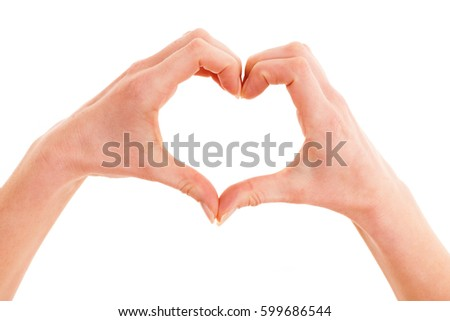 Hands showing heart over white background