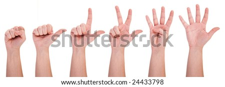 Hands showing numbers - stock photo