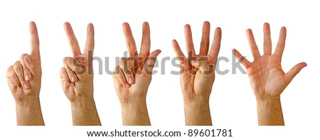 Hands showing numbers from one to five