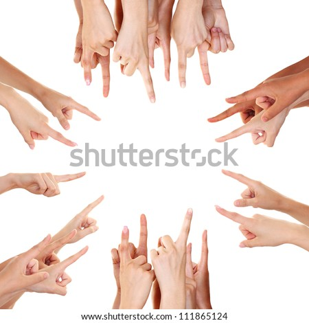 Hands showing product isolated