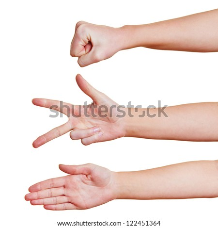 Hands showing the symbols rock paper scissors for a hand game