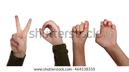 Hands showing the word vote in sign language