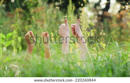 Hands showing thumbs up - stock photo