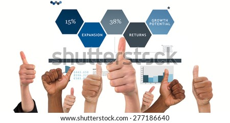 Hands showing thumbs up against business interface - stock photo