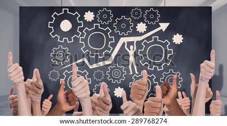 Hands showing thumbs up against composite image of black card - stock photo