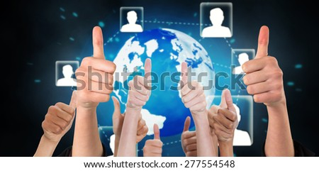 Hands showing thumbs up against futuristic technology interface