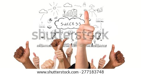 Hands showing thumbs up against success brainstorm - stock photo