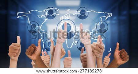 Hands showing thumbs up against world map with icons in hallway