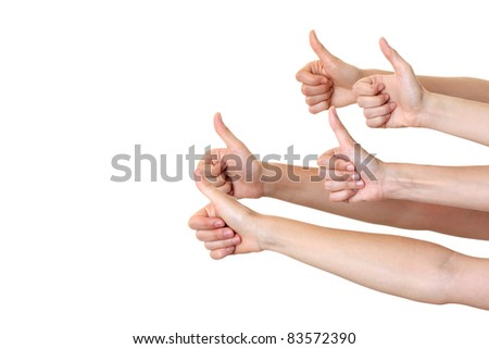 Hands showing your product isolated - stock photo