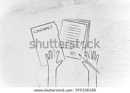 hands signing a contract, flat outline illustration - stock photo