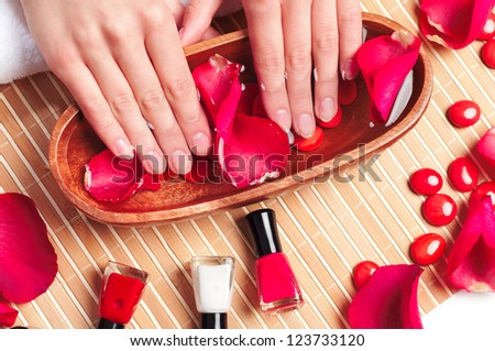 Hands spa, still in the cabin for the care of hands - stock photo