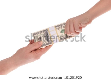 Hands stretching a US dollar note isolated on white. Clipping path included.