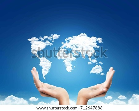 Hands support clouds shapes world map stock photo safe to use hands support clouds shapes world map at blur sky background concept design background gumiabroncs Image collections