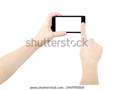 Hands taking photo on black smartphone, empty screen, isolated on white, clipping path - stock photo