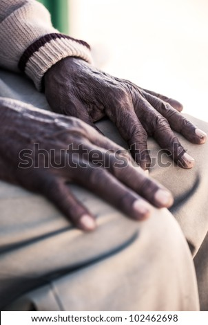 Hands that knows what hard work is and in pain.
