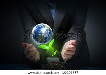 hands, the young sprout and our planet Earth