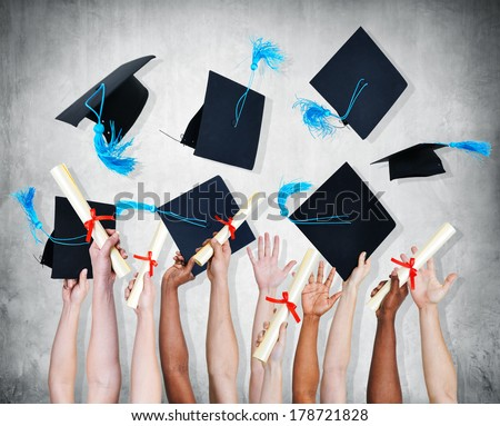 Hands Throwing Graduation Certificates and Caps in The Air