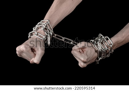 Hands tied chain, kidnapping, dependence, loneliness, social problem, halloween theme, killer, crazy, freedom