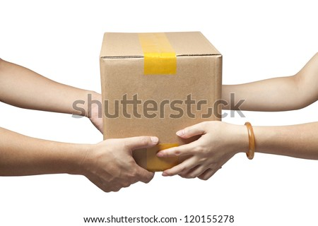 Hands to receive a parcel - stock photo