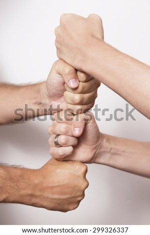 Hands together for a business team work