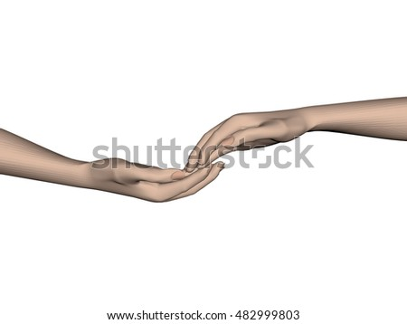Hands touching each other. 3D.