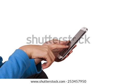 hands typing on mobile phone - stock photo