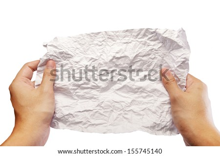 hands unfolded crumpled paper isolate on white background - stock photo