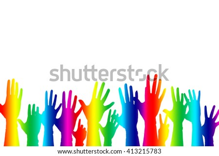 Hands up color background isolated, gay lesbian homosexual greeting concept.