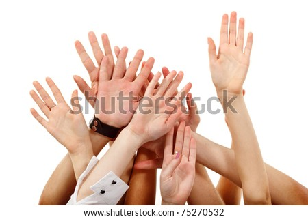 hands up group people isolated on white background (focus on the right hand)