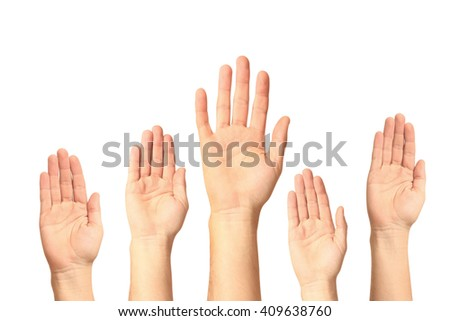 Hands up isolated on white background - stock photo