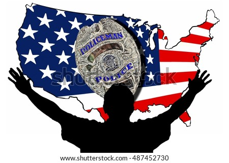 Hands Up Silhouette of a Man Surrendering in Front of an American Flag Map and Police Badge