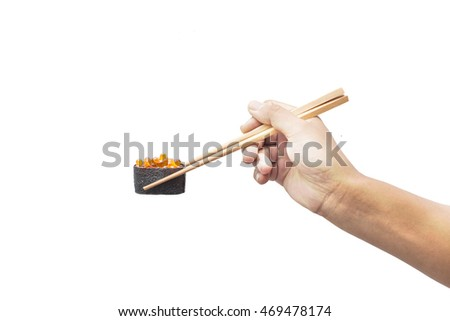Hands using chopsticks Japanese food. On a white background