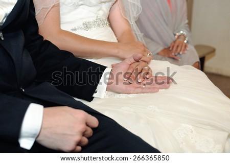hands wedding couple - stock photo