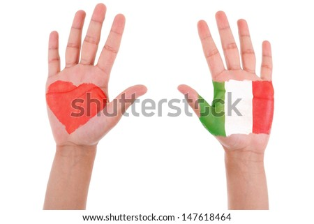 Hands with a painted heart and italian flag, i love italy concept, isolated on white background - stock photo