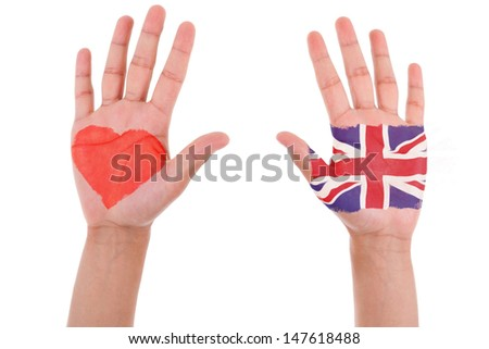 Hands with a painted heart and united kingdom flag, i love uk concept, isolated on white background - stock photo