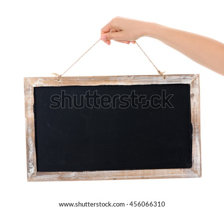 hands with blackboard - stock photo