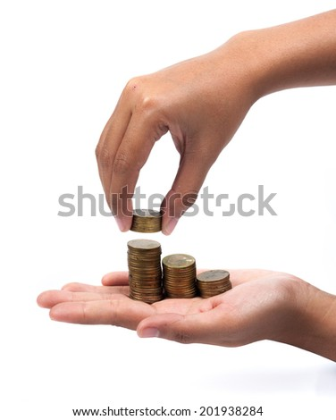 Hands with coins - stock photo
