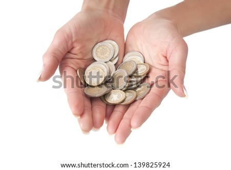 hands with coins, isolated on white background